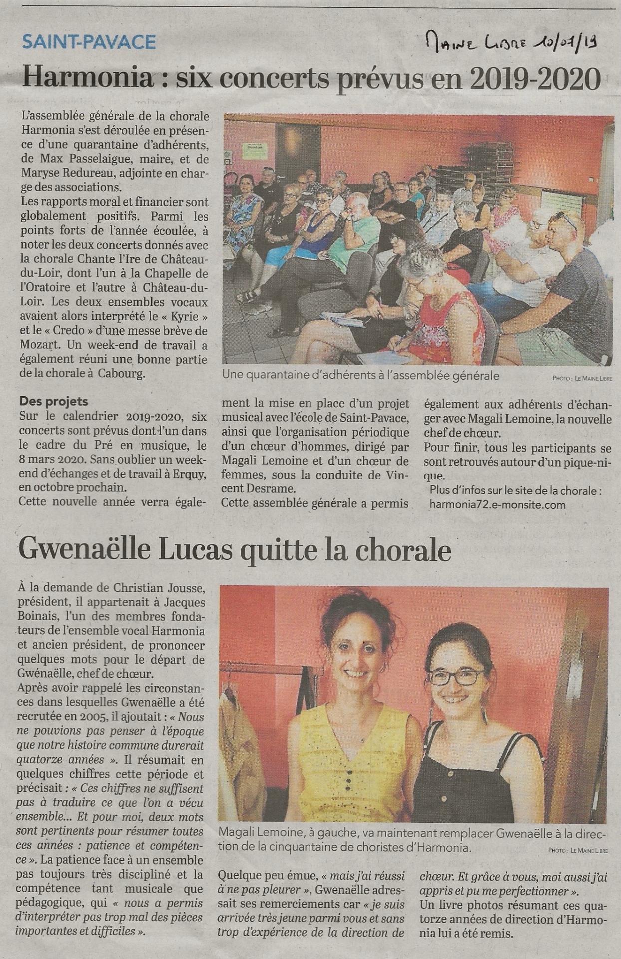 Blog - Les news de la chorale Harmonia de St Pavace